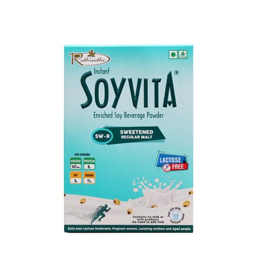 SOYVITA - SWEETENED REGULAR MALT   LACTOSE FREE   ENRICHED SOY BEVERAGE POWDER   Serves-6 (200 Gms)   FRONT SIDE VIEW